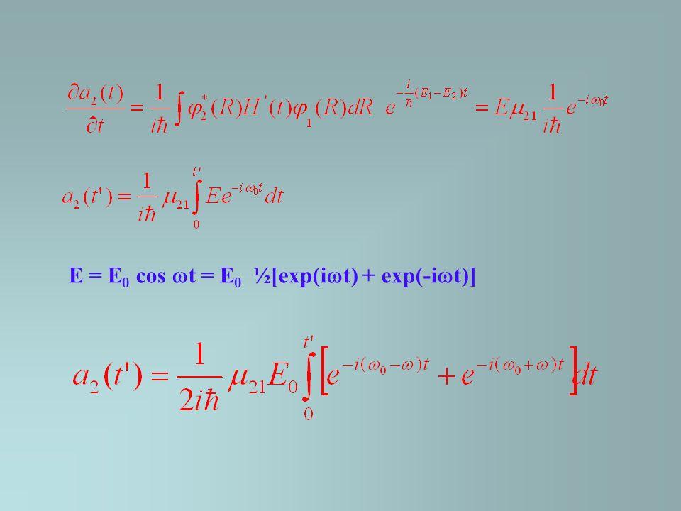E = E0 cos t = E0 ½[exp(it) + exp(-it)]